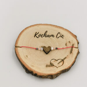bransoletka dla niej, drewno i kamienie naturanle, bransoletka z sercem